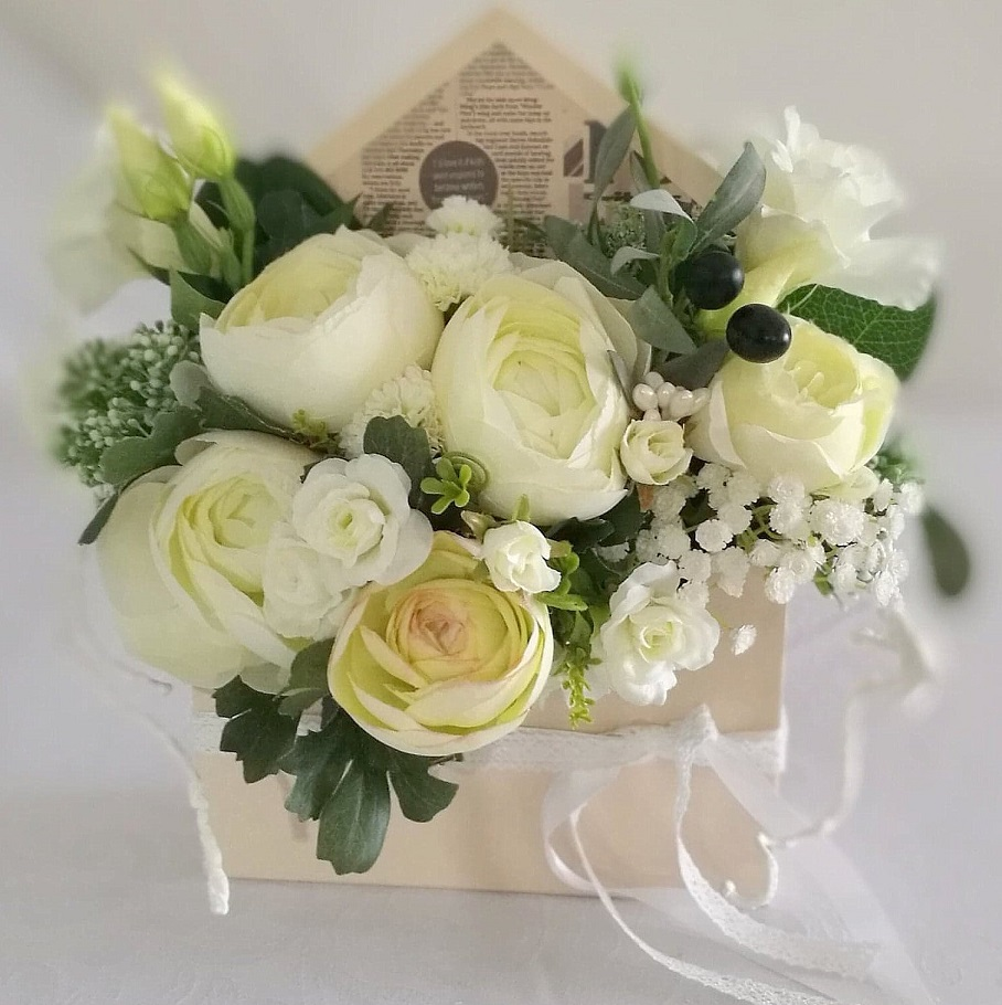 Flower box koperta Białe kwiaty