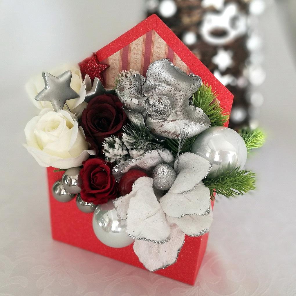 Flower box świąteczny czerwono - srebrny