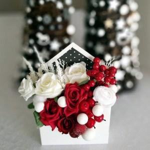 Flower box świąteczny biało - czerwony