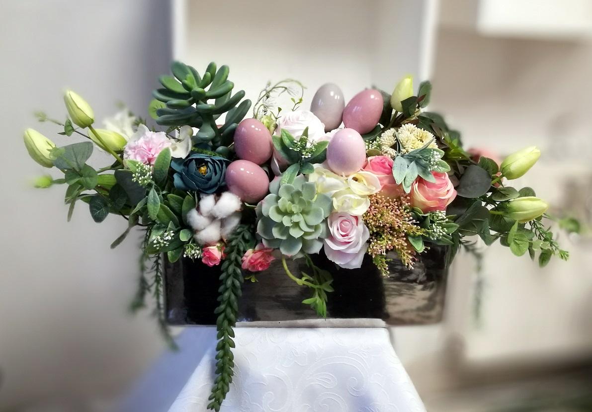 Wielkanocny stroik z sukulentami nr. 165