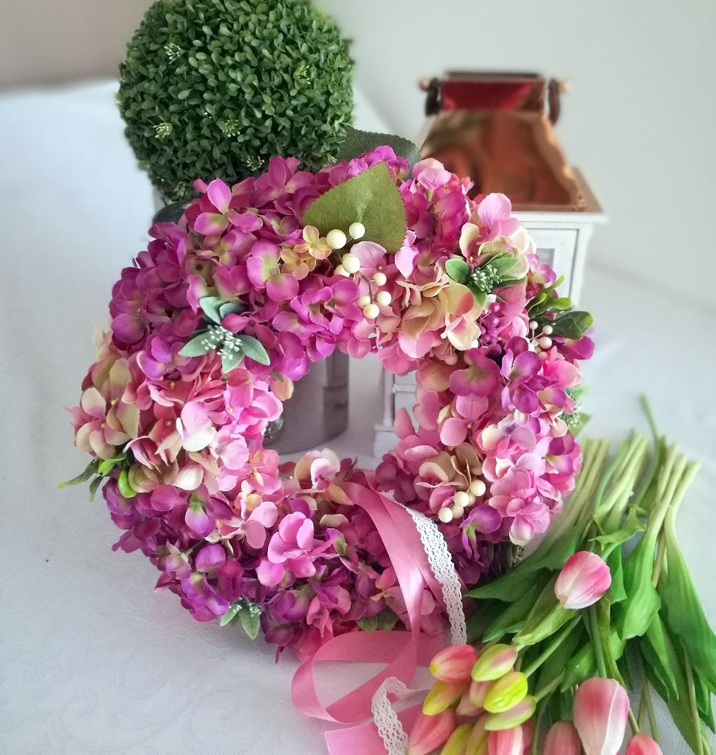 Wianek z hortensji fioletowo-różowy nr. 82