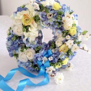Wianek z hortensji niebiesko-biały nr. 86