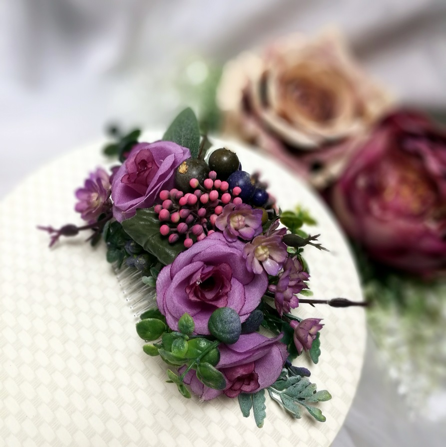 Stroik ślubny, grzebień do włosów fioletowe kwiaty