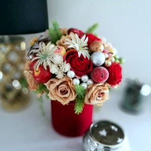 Świąteczny flowerbox w czerwieni nr 250