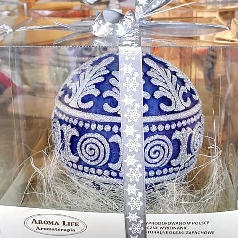 Zapachowa świeca w kształcie bombki niebieska