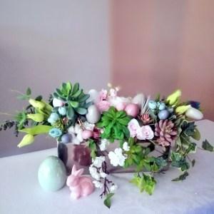 Wielkanocny stroik z sukulentami nr 292