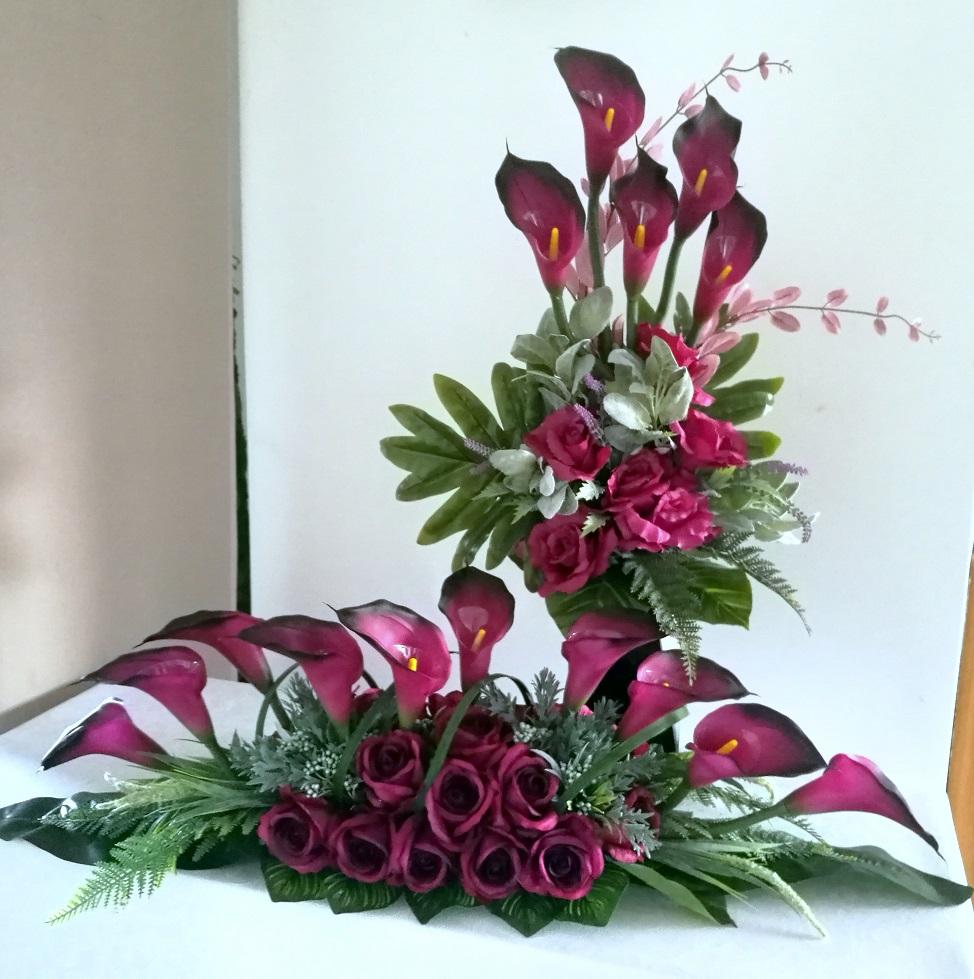 Zestaw nagrobny w fiolecie roz L nr. 257
