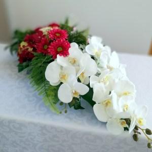 Stroik nagrobny biel z amarantem nr 322