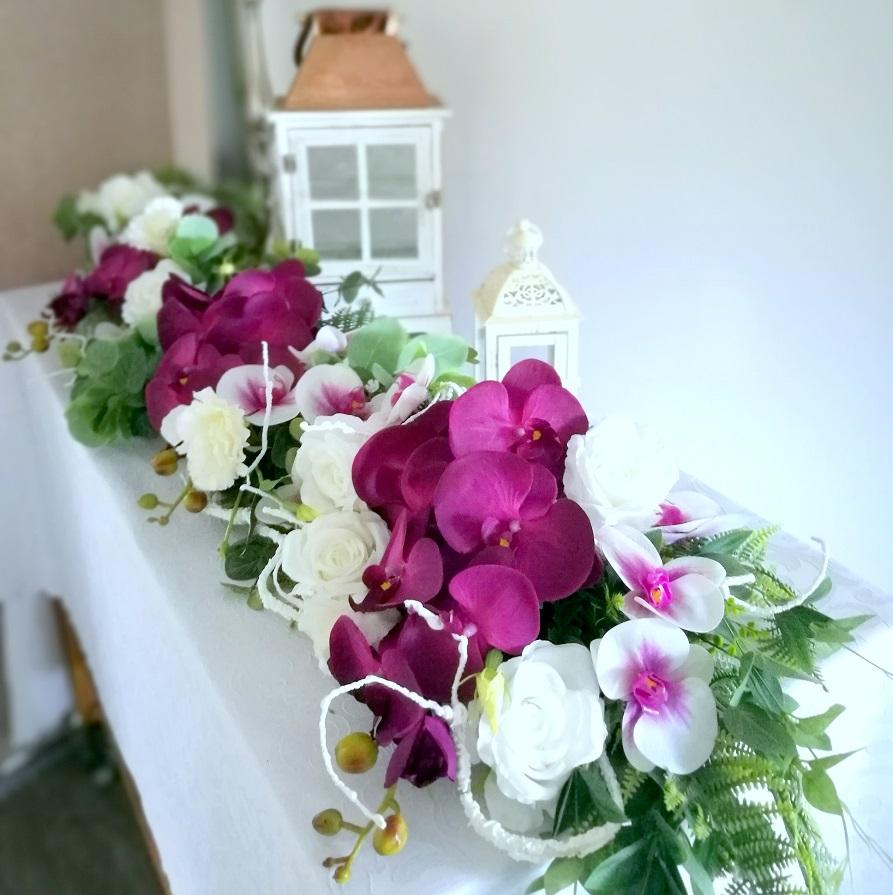 Girlanda kwiatowa Amarantowe storczyki nr 329