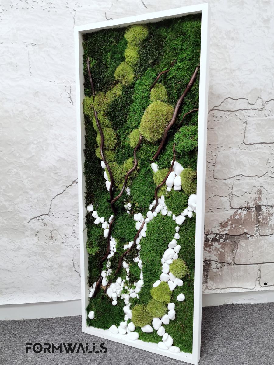 Zielony obraz z mchów stabilizowanych 100x40 cm
