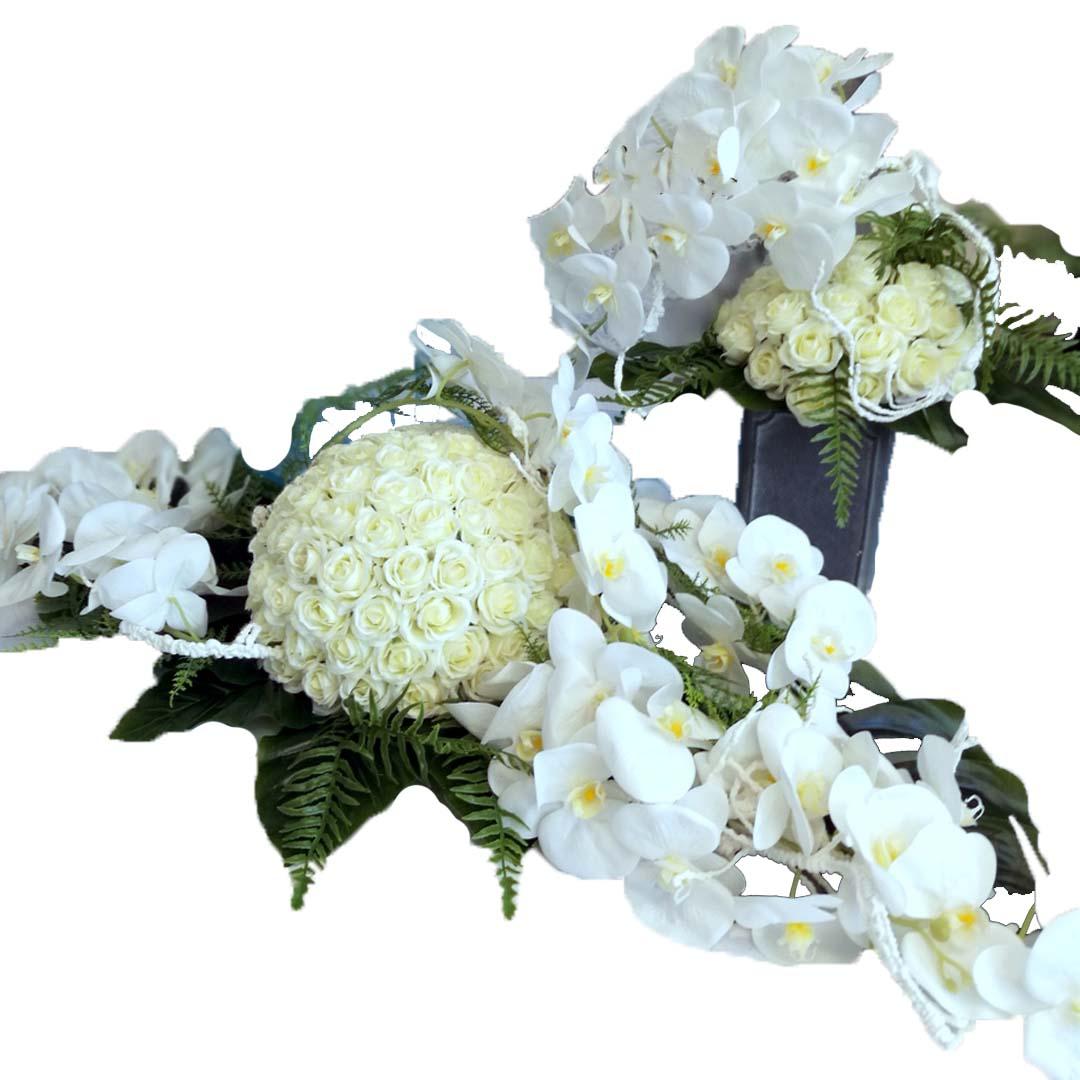Dekoracja kwiatowa z bukietem Białe Storczyki nr 504