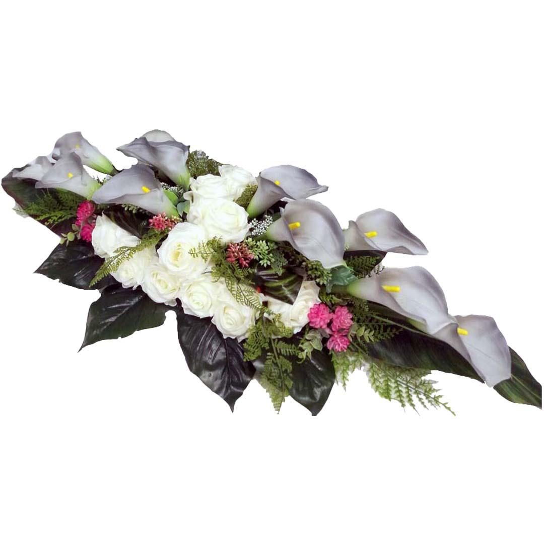 Stroik nagrobny Szarość i biel roz. L nr 553