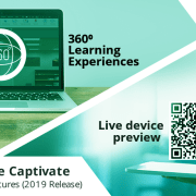 Adobe Captivate 2019 Features – Live Device Preview and 360⁰ Learning Experiences Live-device-preview-360⁰-learning-experiences [1] Adobe Captivate 2019, A lot many features have been released to create more engaging eLearning courses. In this blog, we are going to discuss two new features, Live Device Preview, and 360 slide. The live device preview option allow you to preview the Virtual Reality (VR) e-Learning courses by connecting them to the mobile device. You can preview all your VR courses as well as responsive courses in your device once you establish the connection with the Captivate tool. This could be done by generating a QR code in the Captivate tool that you can scan using the QR scanner app in your mobile device. Another new feature in Captivate 2019 is 360 slide which maximizes your responsive courses into the next level. With this feature, you can import a 360 slide in the responsive project and even you can add interactive elements like hotspots which increases the learner remediation. Let's look at both the features: To begin, open a Responsive Project or a Virtual Reality Project and click on the Preview option and select Live Preview on Devices from the drop-down list. degree 1 A browser will open with a QR code and a sharable link. degree 2 Scan the QR code on your device using QR scanner app. Then you can view the responsive project in your mobile device. degree3 Note: The changes made in the original project will also be reflected in the previewing project once the connection is established between the devices. Now, let's look at 3600 Learning Experiences: Open any 2D Adobe Captivate project and click on Slides option and choose 360 Slide from the drop-down list degree 4 You can also add interactive elements to the slide and make it more engaging.degree 5Note: This output will be supported in the 2D browser but not in VR devices. 3D slides can be navigable by mouse. Now that you can produce comprehensive courses by combining different activities including demo videos, 360 slides, PowerPoint slides, and question slides, etc. I hope this blog provides good pointers on how you can use Captivate 2019 to enhance your learning designs. Do contact us at info@swiftelearningservices.com if you need any specific eLearning requirements. You might also like Articulate Storyline 360: Custom Drag and Drop Interactivity using Variables Articulate Storyline 360: Custom Drag and Drop Interactivity using Variables Articulate Storyline 360 - Publish as video - Review E-Learning-Course-Design Learning Course Design in Storytelling Method Adobe Captivate 2019 Features: PowerPoint in Responsive Mode and Import CSV Format File Is it Necessary to Implement Blended Learning? Human Anatomy Skin M Leverage eLearning Courses with 3D Models in Articulate Storyline 360