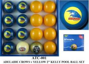AFL KELLY POOL BALL SET - ADELAIDE CROWS vs YELLOW - ARAMITH - 2""