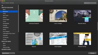 Swift Publisher for Mac desktop publishing templates section