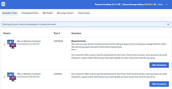 Usertesting.com review dashboard
