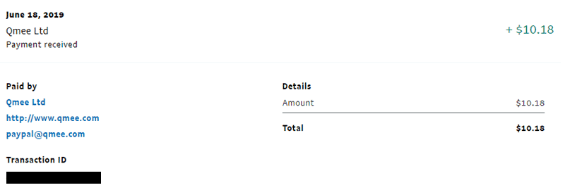 Qmee payment proof #2