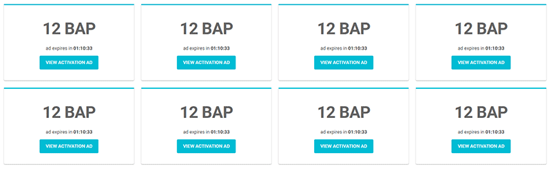 Activation ads paying 12 BAP each