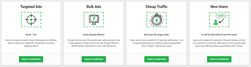 Four Paidverts paid ad options