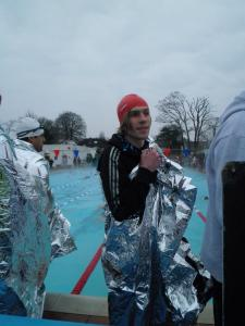 Preparing for the swim to start. The pool was heated, but so cold outside!