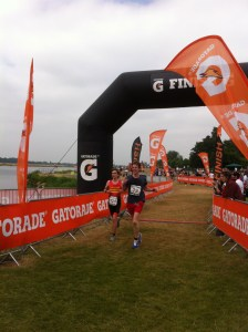 Crossing the finish line at Eton.