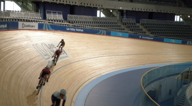 Pace-lining around the stayer's blue line at the London 2012 velodrome
