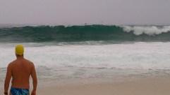 Contemplating a rough swim