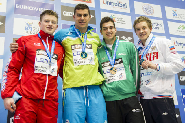 LEN European Short Course Swimming Championships DUGONJIC Damir SLO, PEATY Adam GBR, KOSTIN Oleg RUS, MURPHY Alexander IRL