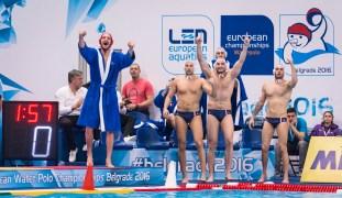 LEN European Water Polo Championships 2016 France FRA (White) Vs Netherlands NED (Blue) Men Team France Head Coach BRUZZO Florian FRA Kombank Arena, Belgrade, Serbia Day12 21-01-2016 Photo P. Mesiano/Insidefoto/Deepbluemedia