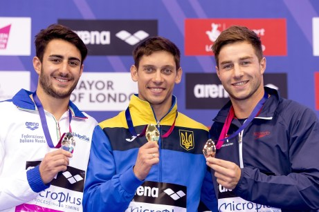 (L to R) Giovanni TOCCI ITA silver; Ilya Kvasha UKR gold; Kostantin BLAHA AUT bronze London, Queen Elizabeth II Olympic Park Pool LEN 2016 European Aquatics Elite Championships DIVING 1M. SPRINGBOARD MEN FINAL Day 02 10-05-2016 Photo Giorgio Scala/Deepbluemedia/Insidefoto