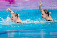 ISHCHENKO Natalia ROMASHINA Svetlana RUS London, Queen Elizabeth II Olympic Park Pool LEN 2016 European Aquatics Elite Championships Synchronised Swimming Synchro Duet Tech Day 06 13-05-2016 Photo Giorgio Scala/Deepbluemedia/Insidefoto