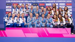 from left ITA silver medal, UKR gold medal, ESP bronze medal London, Queen Elizabeth II Olympic Park Pool LEN 2016 European Aquatics Elite Championships Synchronised Swimming Synchro Team Free Final Day 06 13-05-2016 Photo Giorgio Scala/Deepbluemedia/Insidefoto