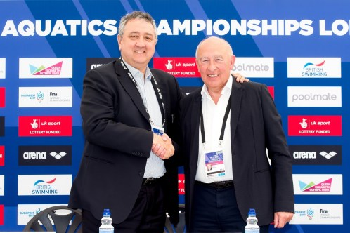 (L to R) Paolo Barelli LEN president; Maurice Watkins British Swimming Chairman London, Queen Elizabeth II Olympic Park Pool LEN 2016 European Aquatics Elite Championships Press Conference Day 00 07-05-2016 Photo Giorgio Scala/Deepbluemedia/Insidefoto