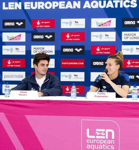 (L to R) Chris Mears GBR, Cagnotto ITA diving London, Queen Elizabeth II Olympic Park Pool LEN 2016 European Aquatics Elite Championships Press Conference Day 00 07-05-2016 Photo Giorgio Scala/Deepbluemedia/Insidefoto