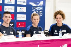 (L to R) Giorgio Minisini, Manila Flamini, Mariangela Perrupato ITA Mix SYN London, Queen Elizabeth II Olympic Park Pool LEN 2016 European Aquatics Elite Championships Press Conference Day 00 07-05-2016 Photo Giorgio Scala/Deepbluemedia/Insidefoto