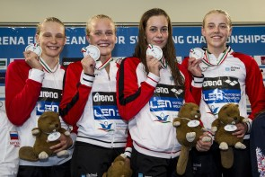 Team Denmark DEN 4X100 Freestyle Relay Women Final Gold Medal LEN 43rd Arena European Junior Swimming Championships Hodmezovasarhely, Hungary Day01 06-07-2016 Photo Andrea Masini/Deepbluemedia/Insidefoto