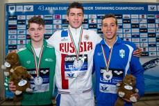 Podium 100 Backstroke Men Final LEN 43rd Arena European Junior Swimming Championships Hodmezovasarhely, Hungary Day02 07-07-2016 Photo Andrea Masini/Deepbluemedia/Insidefoto