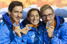 Team ITALY Gold medal - BRUNI Rachele, RUFFINI Simone, VANELLI Federico Hoorn, Netherlands LEN 2016 European Open Water Swimming Championships Open Water Swimming 5km Team Event Mixed Day 03 13-07-2016 Photo Giorgio Perottino/Deepbluemedia/Insidefoto