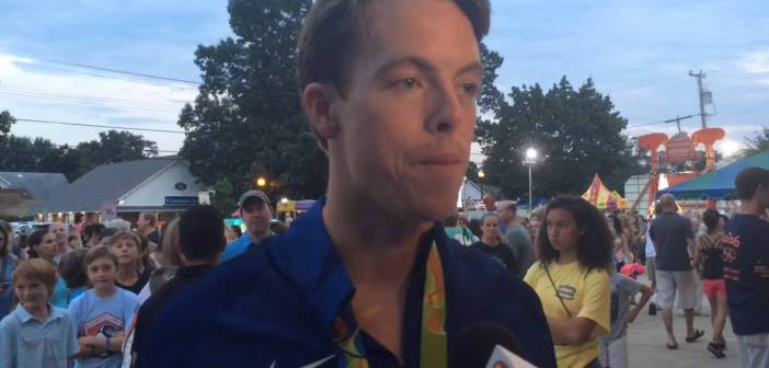 N.J. Olympic swimmer comes home