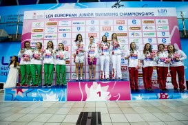 Podium 4X100m Medley Relay Women Final Russian Federation RUS Gold Medal, Team Hungary HUN Silver Medal, Team Poland POL Bronze Medal LEN 44th European Junior Swimming Championships Netanya, Israel Day03 30-06-2017 Photo Andrea Masini/Deepbluemedia/Insidefoto