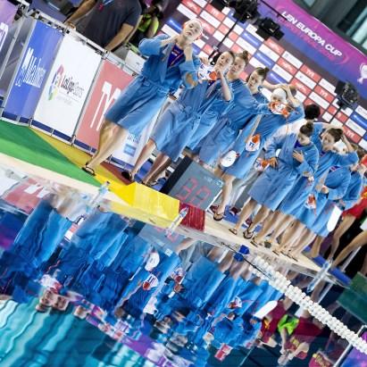 NED Team LEN Europa Cup Women 2018 finals NED-ESP Netherlands (white caps) V. Spain (blue caps) 3rd - 4th place Water Polo, Pallanuoto Pontevedra, Spain Complejo Rias do sur Day03 Photo © Giorgio Scala/Deepbluemedia/Insidefoto