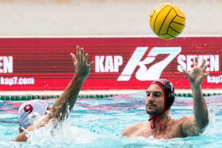 Olympiacos (white cap) vs Spandau (blue cap) RESTOVIC Marin LEN Champions League Final Eight 2018 Piscina Sciorba Genova Italy Photo © G.Scala/Deepbluemedia/inside