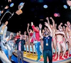 Olympiacos celebrating the Champions League victory Final Olympiacos Piraeus (White Cap) Vs. l Pro Recco (Blue Cap) LEN Champions League Final Eight 2018 Piscina Sciorba Genova Italy Photo © G.Scala/Deepbluemedia/inside