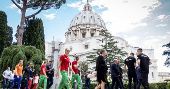 Pope Francis meets swimmers in Rome