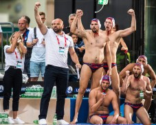 Jug Dubrovnik (white cap) vs Szolnoki (blue cap) Team Jug Dubrovnik LEN Champions League Final Eight 2018 07/06/2018 Piscina Sciorba Genova Italy Photo © G.Scala/Deepbluemedia/inside