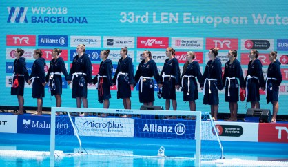 HUN - Team Hungary TUR - HUN Turkey (white caps) vs. Hungary (blue caps) Barcelona 15/07/18 Piscines Bernat Picornell Women qualification 33rd LEN European Water Polo Championships - Barcelona 2018 Photo Giorgio Scala/Deepbluemedia/Insidefoto