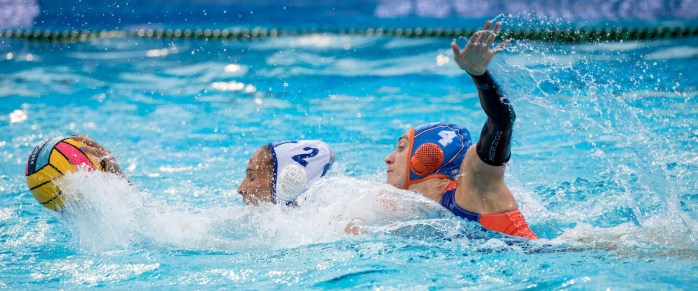 2 TSOUKALA Christina GRE, 4 VAN DER SLOOT Catharina NED GRE - NED Greece (white caps) vs Netherlands (blue caps) Barcelona 21/07/18 Piscines Bernat Picornell Women qualification 33rd LEN European Water Polo Championships - Barcelona 2018 Photo Giorgio Scala/Deepbluemedia/Insidefoto