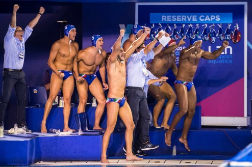 Team Italy ESP - ITA Spain (white caps) vs Italy (blue caps) Semi Final Men Barcelona 26/07/18 Piscines Bernat Picornell 33rd LEN European Water Polo Championships - Barcelona 2018 Photo Giorgio Scala/Deepbluemedia/Insidefoto