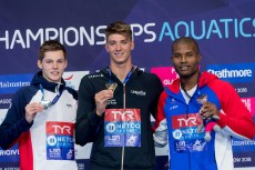 MIRESSI Alessandro ITA Gold Medal SCOTT Duncan W GBR Silver Medal METELLA Mehdy FRA Bronze Medal 100m Freestyle Men Final Glasgow 05/08/18 Swimming Tollcross International Swimming Centre LEN European Aquatics Championships 2018 European Championships 2018 Photo Andrea Staccioli/ Deepbluemedia /Insidefoto
