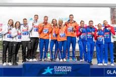 Team NETHERLANDSGold Medal VERMEULENEsmee VAN ROUWENDAALSharon SMITSPepijn Maxime WEERTMANFerry Team GERMANYSilver Medal BECKLeonie Antonia KOEHLERSarah MEISSNERSoeren WELLBROCKFlorian Team FRANCEBronze Medal GRANGEONLara AUBRYDavid POULisa OLIVIERMarc-Antoine Team Event 5km Glasgow 11/08/2018 Open Water Swimming Loch Lomond and The Trossachs National Park LEN European Aquatics Championships 2018 European Championships 2018 Photo Andrea Staccioli /Deepbluemedia /Insidefoto
